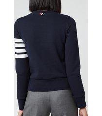 thom browne women's classic sweatshirt in classic loop back - navy - it 42/uk 10