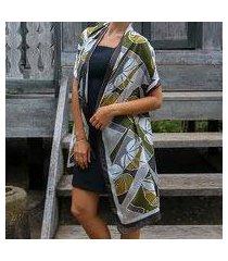 silk batik shawl, 'olive leaf' (indonesia)