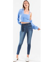 brandi tie front skinny jean - medium wash