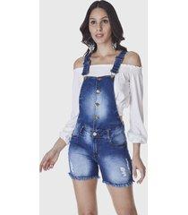 macacã£o jardineira shorts hno jeans azul - azul - feminino - dafiti