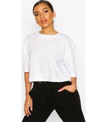 petite cropped cotton t-shirt, white