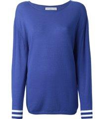 golden goose striped cuff sweater - blue