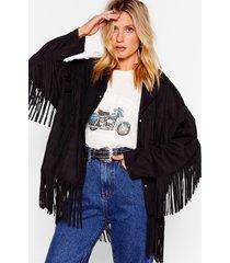 womens swing by faux suede fringe jacket - black