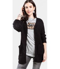 antonia open weave cardigan - black