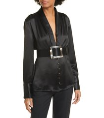 nicholas sahra shawl collar belted blouse, size 6 in black at nordstrom