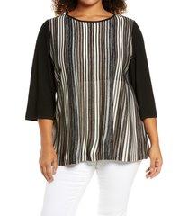 plus size women's ming wang stripe knit tunic, size 2x - brown