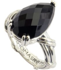 fantasies pear black onyx cocktail ring in sterling silver