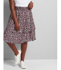 lane bryant women's printed tiered skirt 22/24 viney linear floral