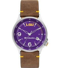 columbia men's canyon ridge lsu saddle leather watch 45mm