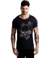 camiseta estonada corte à fio joss caveira florida masculina