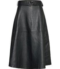 arlan leather midi skirt knälång kjol svart french connection