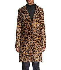 angelina leopard print calf hair coat
