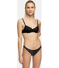 black leaf print lace thong - black