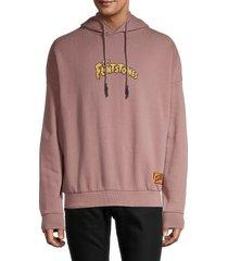 eleven paris men's graphic cotton hoodie - brown - size s