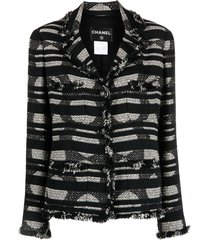 chanel pre-owned 2008 patterned woven blazer - black