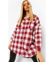 geruite oversized blouse met capuchon, berry