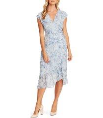 women's vince camuto botanical breeze faux wrap dress, size 10 - blue