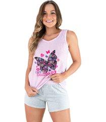 pijama mvb modas adulto estampado shortdoll cinza rosa