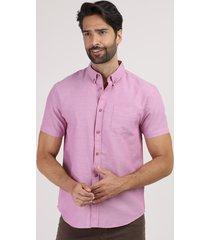 camisa masculina comfort com bolso manga curta lilás