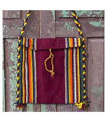 wool shoulder bag, 'zapotec fiesta' (mexico)