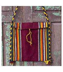wool shoulder bag, 'zapotec fiesta' (mexico)