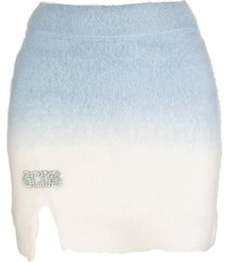 gcds white and blue gradient mini skirt with logo