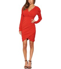 ax paris women's long puff sleeved ruched wrap dress