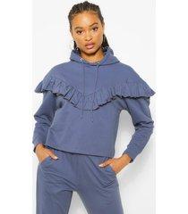 oversized hoodie met franjes, dusty blue
