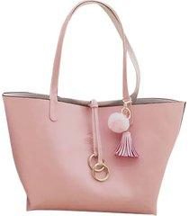 bolso fe style creative reversible para dama - rosado con blanco