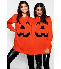 halloween pompoen tweeling trui, oranje