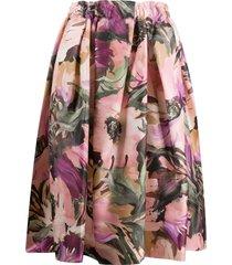 comme des garçons floral print full midi skirt - pink
