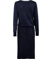 gebreide jurk met plissé, lange mouw