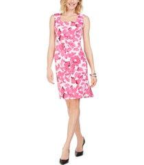 kasper petite floral-print square-neck dress