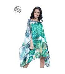 kaftan 101 resort wear vestido crepe cetim estampado folhagem verde