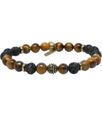 mr ettika tiger's eye and lava bead elastic bracelet