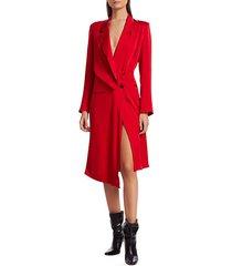 drape tailored button-side midi blazer dress