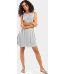 ivie ladder trim dress - heather gray