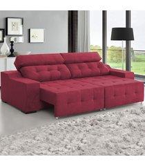 sofá 4 lugares retrátil e reclinável antares marsala - viero móveis