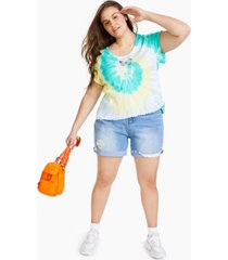 full circle trends trendy plus size graphic tie-dyed t-shirt