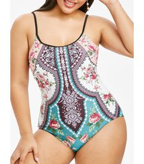 floral printed bohemian plus size one-piece swimsuit