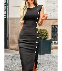 botón negro diseño redondo cuello sin mangas vestido