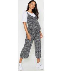 maternity ditsy floral culotte jumpsuit, black