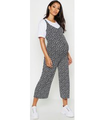 maternity ditsy floral culotte jumpsuit, black