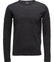 100% light wool klap gebreide trui met ronde kraag grijs mads nørgaard