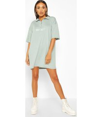 off-duty embroidered high neck t-shirt dress, turquoise