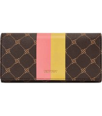 billetera file clutch clare nine west para mujer café estampado