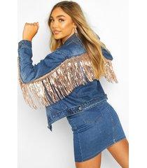 rhinestone sequin tassle jean jacket, mid blue