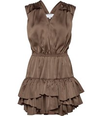 ruffled front wrap dress kort klänning brun designers, remix