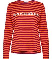 logo mari shirt t-shirts & tops long-sleeved rood marimekko