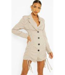 geweven geplooide blazer jurk, grey